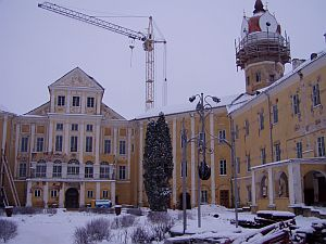 Nyazvizh -The castle - here under construction (winter 2004)