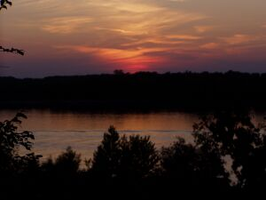 Ruse: Sundown at the river Danube (the other shore side is Romania)