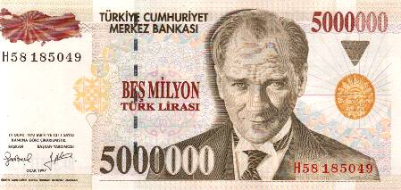 One of the old Turkish banknotes