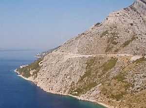 Typical Croatian landscape: A steep coast and crystal-clear water