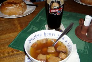A classic: Garlic soup and dark beer