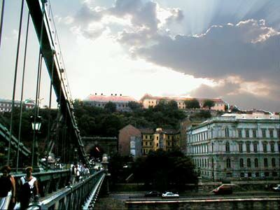 Budapest: View from the chain bridge direction Buda