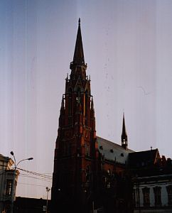 The red parish church of Osijek